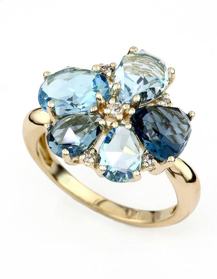 EFFY COLLECTION 14 Kt. Yellow Gold Topaz & Diamond Flower Ring