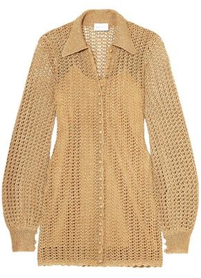 Alice McCall I Found You Metallic Crochet-knit Mini Dress