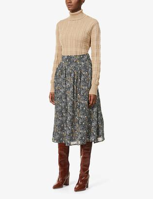 Sessun Alya floral-print chiffon pleated midi skirt