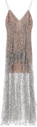 Self-Portrait LONG SEQUINED TULLE DRESS 8 Grey, Silver