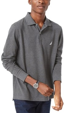 Nautica Men's Long-Sleeve Cotton Polo