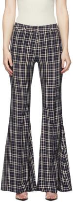 KHAITE Navy Check Stockard Trousers