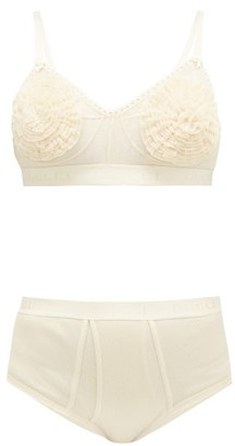 Gucci Tulle And Cotton Bra And High-rise Briefs - Cream