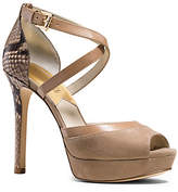 Michael Kors Ginny Suede And Embossed-Leather Platform Pump