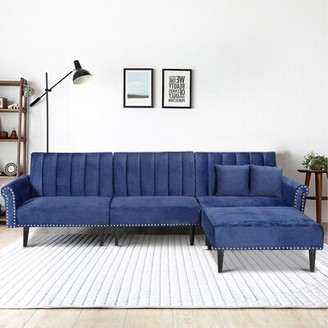 "118"" Velvet Right Hand Facing Reclining Sofa & Chaise with Ottoman wangcai Fabric: Navy Blue"