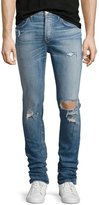 Hudson Sartor Distressed Slouchy-Skinny Jeans, Blue