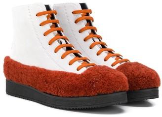 Marni Orange Faux Fur Trim Boots