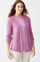 J. Jill Open-Stitch Textured Cardi