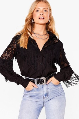 Nasty Gal Womens Round Up Embroidered Fringe Shirt - Black - S/M