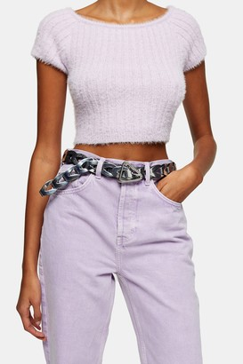 Topshop Womens Metallic Silver Weave Belt - Silver