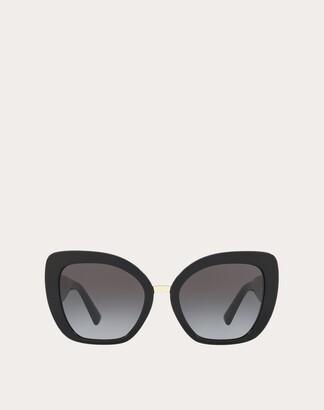 Valentino Oversized Cat-eye Acetate Sunglasses Women Maroon Acetate 100% OneSize