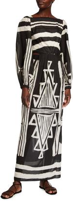 Johanna Ortiz Item of Value Geometric-Print Voile Maxi Dress