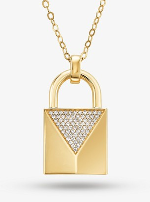 Michael Kors 14K Gold-Plated Sterling Silver Pave Large Lock Necklace