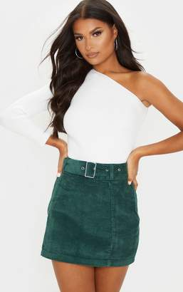 PrettyLittleThing Rust Cord Belted Denim Mini Skirt