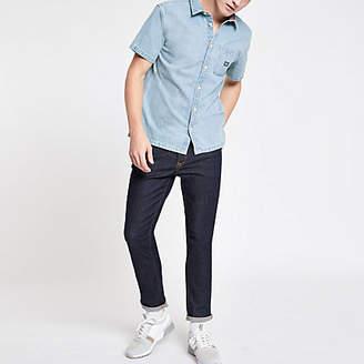 River Island Superdry light blue denim regular fit shirt