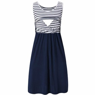 So Buts Maternity Dress SO-buts Women Pregnant Maternity Stripe Tunic Breastfeeding Summer Nursing Baby A-Line Casual Midi Dress (Navy M)
