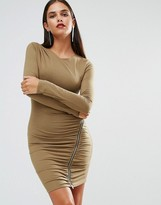 Jessica Wright Long Sleeve Ruched Dress With Zip Detail