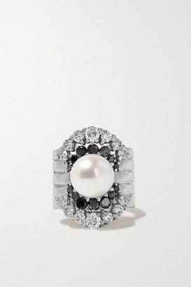 Yvonne Léon 18-karat White Gold, Diamond And Pearl Ear Cuff - one size