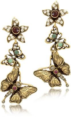 Alcozer & J Gemstone, Gold Plated Brass Butterflies with Flower Earrings