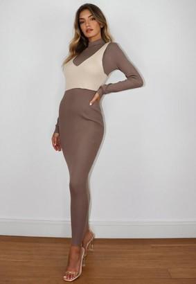 Missguided Petite Grey 2 Piece Knit Maxi Dress