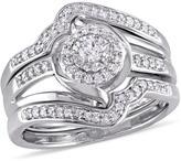Julie Leah 1/4 CT TW Diamond Sterling Silver 3-Piece Halo Bridal Set
