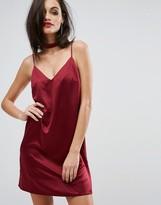 Lipsy Satin Cami Slip Dress With Choker Detail