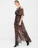 White House Black Market Cold-Shoulder Print Maxi Dress