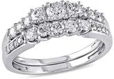 0.82ctw Diamond Engagement Ring and Wedding Band 14K White Gold 2-piece Set