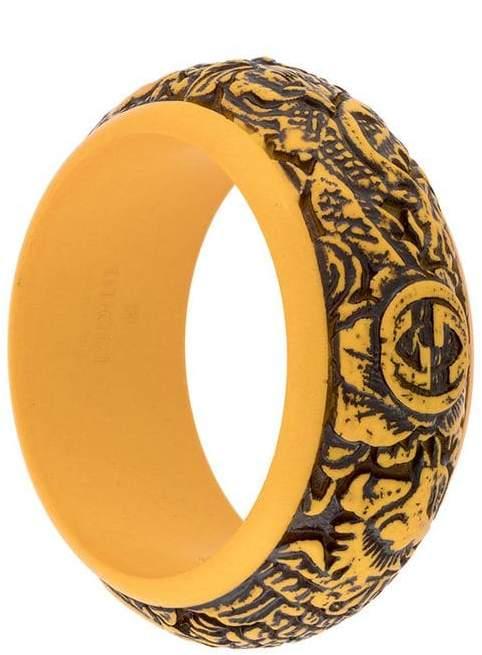 Gucci logo carved bangle