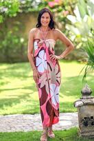 Floral Hand Painted Maxi Dress, 'Pink Balinese Grace'