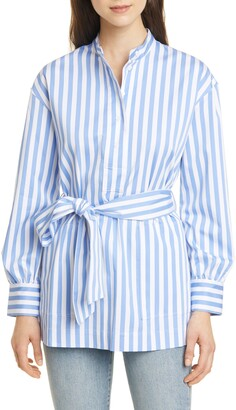 Club Monaco Half Placket Stripe Belted Tunic