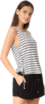 BB Dakota Jack by Loren Stripe Lace Up Side Tank