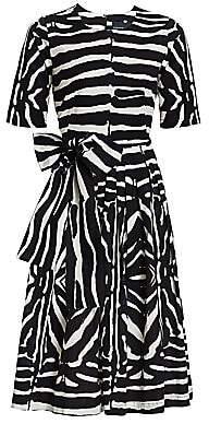 Samantha Sung Women's Florance Zebra-Stripe Stretch-Cotton Midi Dress