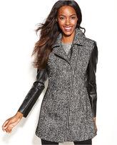 INC International Concepts Asymmetrical Mixed-Media Faux-Leather-Sleeve Coat