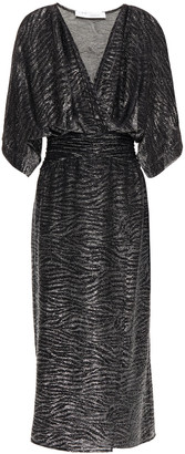 IRO Volsun Wrap-effect Metallic Zebra-jacquard Midi Dress
