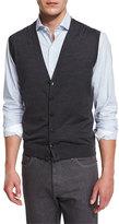 Ermenegildo Zegna Wool Cardigan Vest, Charcoal