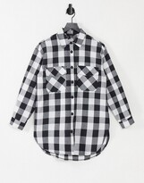 Thumbnail for your product : New Look oversized boyfriend shirt in black gingham check