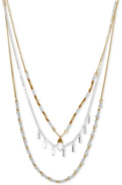 """Lucky Brand Two-Tone Layered Bead & Stone Three-Row Necklace, 20-1/2"""" + 2"""" extender"""