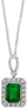 "Effy Emerald (2-1/5 ct. t.w.) & Diamond (1/4 ct. t.w.) 18"" Pendant Necklace in 14k White Gold (Also Available in 14k Yellow Gold)"