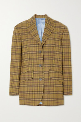 Acne Studios Oversized Appliqued Checked Wool-blend Blazer - Yellow