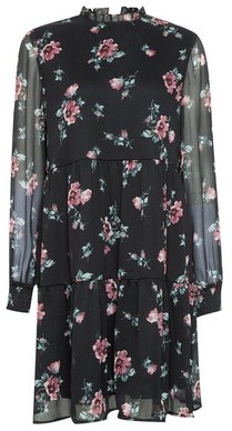 Dorothy Perkins Womens Vila Black Floral Print Dress, Black