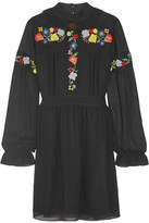 Anna Sui Embroidered Georgette Mini Dress - Black