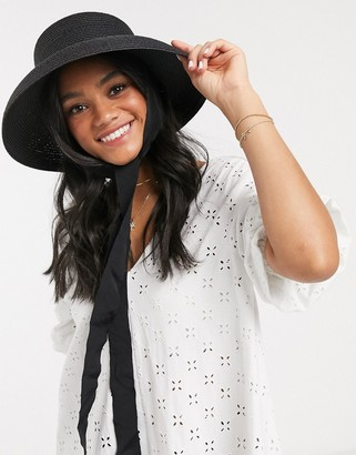 Asos DESIGN turned edge straw hat with removable ties and size adjuster in black