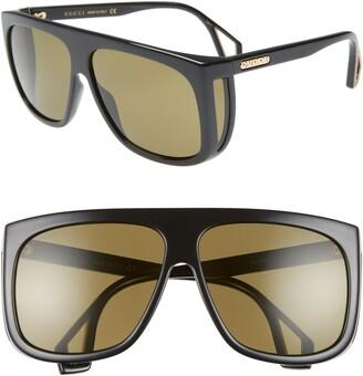 Gucci 62mm Oversize Flat Top Sunglasses