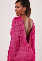 Missguided Pink Tassel Fringe V Back Shift Dress