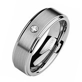 Top Value Jewelry - Men Wedding Band, Tungsten Ring, Titanium Color, Brush Matted Finish with Cubic Zirconia Stone, 8MM - HIGH END