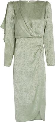 Ronny Kobo Jade Leaf Jacquard Midi Dress
