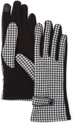 David & Young Women's Casual Gloves Black - Black & White Houndstooth Gloves