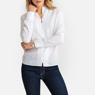 Anne Weyburn Mandarin Collar Long-Sleeved Shirt