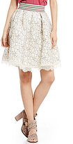 Soulmates Floral Pattern Lace Scalloped-Hem Skirt